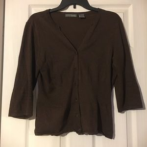 Brown fitted cardigan, three-quarter sleeves, XL